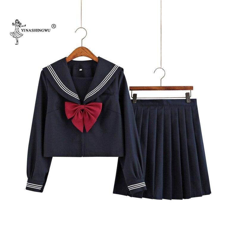 Lady JK Uniform Japanese Kansai Sailor Suit School Uniform Cosplay Student Jk Academy Students Version Sailor Pleated Skirt Suit