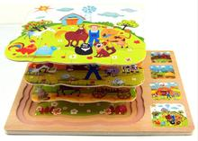 Free delivery,3 layer wooden puzzles,early education multilayer three-dimensional puzzle farm.children's toys,classic toys(China)