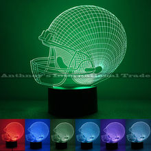 1pec/set Rugby player helmet lamp 7 color changing visual illusion LED lamp 2016 fashion toy 3D light action figure kids gift