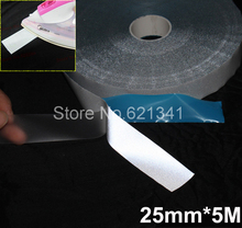 25mm*5m Ironing Reflective Tape Elastic Reflective Fabric Material Iron On Clothes Reflective Heat Transfer Film(China)