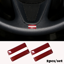2pcs/set Steering wheel 3D Epoxy Car Styling fit for Renault duster megane 2 clio Shield Flag Latvia Car Sticker National Emblem