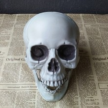 Cheap 10 Sizes Plastic Skull Halloween Decoration Human Head Skull Model Simulation Horror Haunted House Layout Props