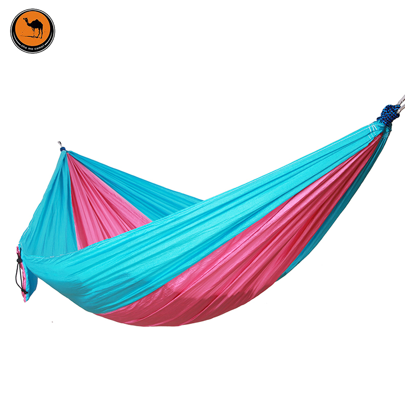 Double Folding Hammock with Mosquito Net Rose red&amp;Blue High Strength Portable Camping Furniture Outdoor Travel Kits Stit<br>