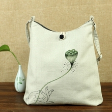 Flower Hand Painted Women Linen Canvas Shoulder Tote Bag Ladies Casual Big Shoppers Shopping Handbag Cotton Bolsa Feminina Beige(China)