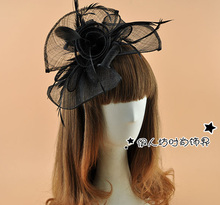 New Design Beige Black Sinamay Hairband Elegant WOmen Floral Bowler Fascinator Head Band Cocktail Banquet Wedding Gilrs Headwear