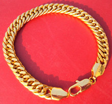 "Noble 24k yellow solid gold GF bracelet chain 9"" jewellery concentrated(China)"
