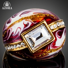 AZORA Gold Color Clear Rectangle Stellux Austrian Crystal Red Oil Painting Pattern Ring for Women TR0151