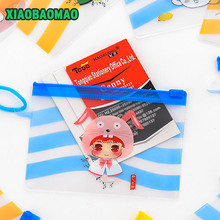 Kawaii yellow blue cartoon girl Kid's Neck BUS & ID Card Holder Pouch BAG Holder Case; ID Message PAD Case Holder(China)