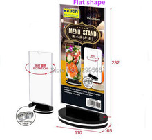 Free shipping rotatable acrylic restaurant menu card display stand  Advertising tag sign card Desk card Photo frame holder rack