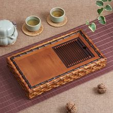 Handmade Ancient Style Bamboo Gongfu Tea Ceremony Serving Table Tray 31x17.5cm
