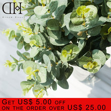 DH 4 branches artificial greenery eucalyptus home decoration accessories leaf Green plants cheap fake grass plastic flower