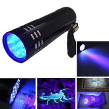 Mini Aluminum CREE LED UV Ultra Violet 9 LED Flashlight Purple Violet Light Blacklight Ultraviolet Torch Light Lamp Lanterna
