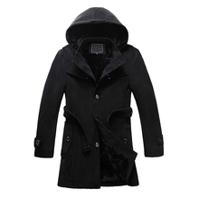 M-6XL new autumn and winter men's thicken warm fleece lined wool blends pea coat hoodie button single breasted overcoat