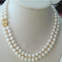 DYY+++817 Strand 9-10mm AAA south ses white pearl necklaces 20 inch