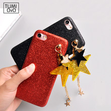 Luxury China Red Fashion Cases For iPhone 6 6s 7 Plus Back Phone Cover Soft TPU Shine Bling Star Pendant Capa Fundas Diamond(China)