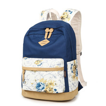 QOKR women floral printing school backpacks for teenagers holo japanese canvas bookbags rose flower girls shoulder travel bags