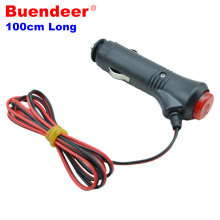 Buendeer 100cm long Car cigarette lighter extension cord/power cord/car cigarette lighter plug Socket with switch Led Indicator(China)