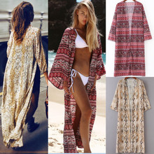 Buy Fashion Women Boho Printed Cover Chiffon Tops Loose Shawl Kimono Cardigan Blouse Sexy Flora Beach Clothes for $8.53 in AliExpress store