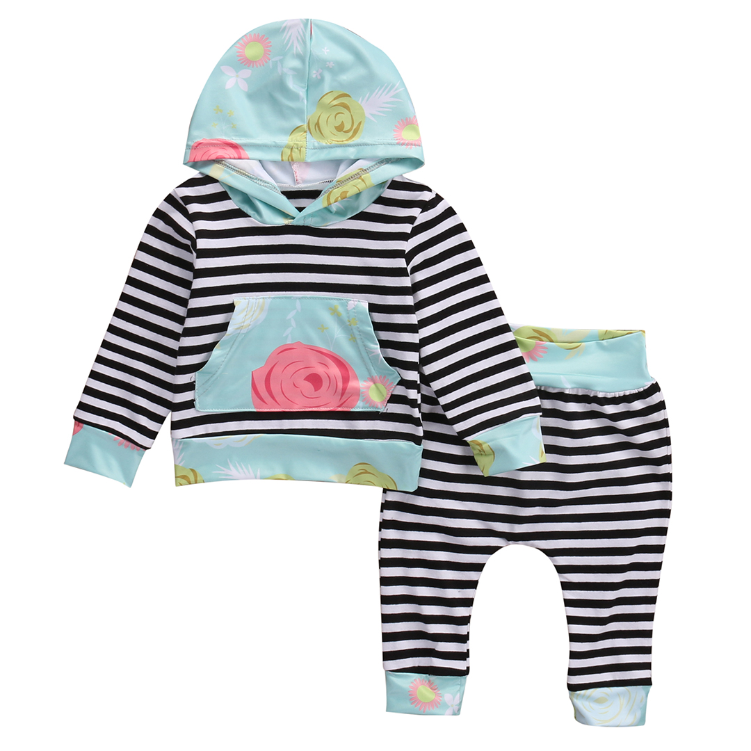 Floral Newborn Baby Girl Clothes Cute Bebes Autumn Suit Striped Hooded Tops Pants 2pcs Outfits Bebek Giyim Clothing Set 0-24M