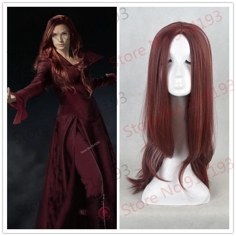New style Marval Girl X-Man Jean Grey Wavy Long Dark Red Cosplay Wig Heat Resistant Party Cos Wigs HD-762<br><br>Aliexpress