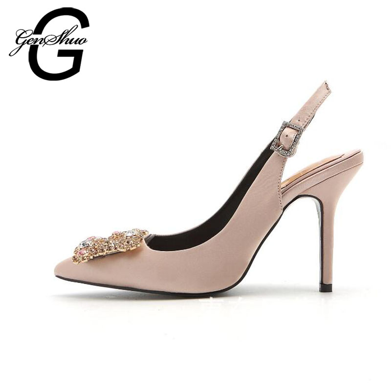 GENSHUO 2017 Sweet Square Rhinestone Buckle Silk Surface Women Pumps Sexy Fashion High Heels Women Party Wedding Shoes 33-40<br>