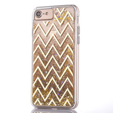 Liquid glitter quicksand case covers for Iphone 5 6 6 plus 7 7plus Plating wave stripe bling quicksand star moving cover case