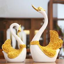 2017 New 3D Swan Simulation Animal Resin Crafts Wedding gifts Home Decoration Accessories Living room Bedroom desktop decoration(China)