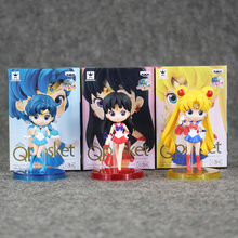 Great 3pcs/lot Q posket Sailor Moon Tsukino Usagi / Sailor Mercury Mizuno Ami / Sailor Mars Hino Rei PVC Action Figure Toy