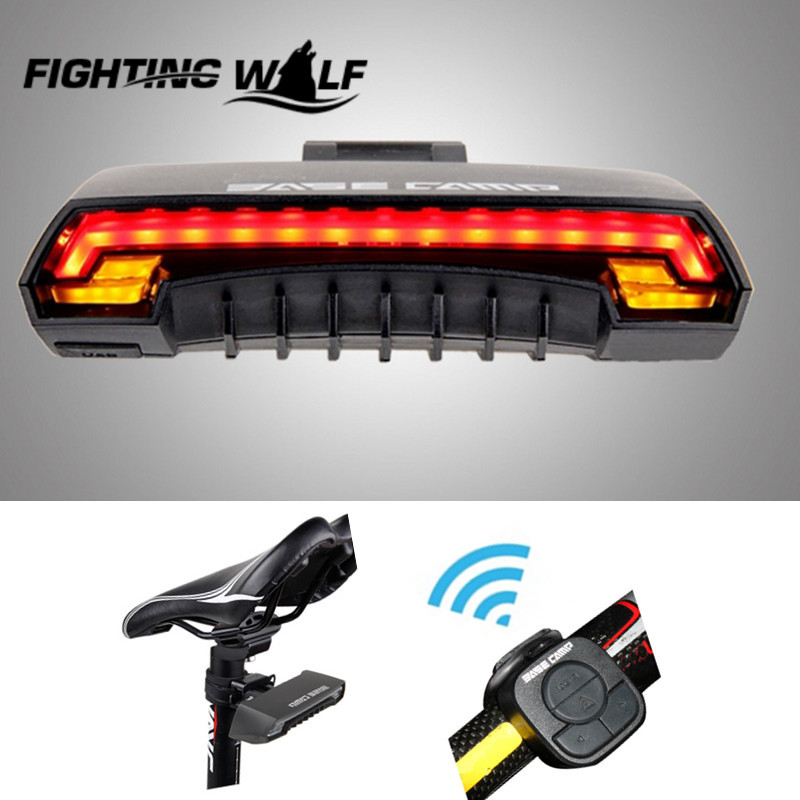 Basecamp Cycling Bicycle Wireless Laser Rear Light Bike Turn Signal Remote Control Safety LED Warning Taillight USB Chargeable <br><br>Aliexpress