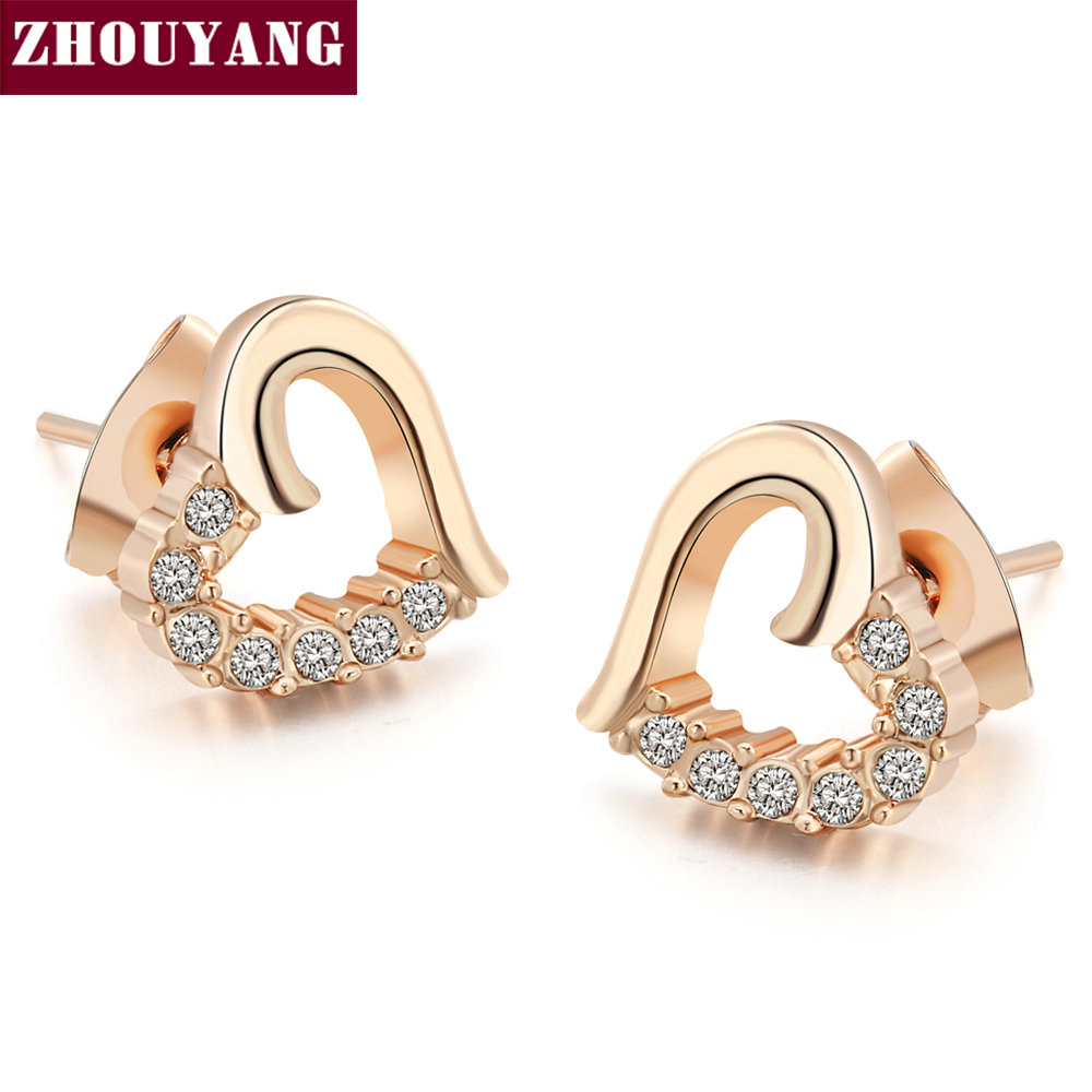Top ZYE327 Hollow Heart Half Crystal Silver Color Stud Earrings Jewelry Genuine Austrian Crystal Wholesale