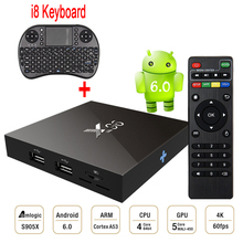 Amlogic S905X X96 Android 6.0 Tv Box 2GB Ram 16GB Rom Quad Core Smart Media Player H.265 4K 2K WiFi+i8 Mini Wireless Keyboard