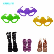 6 Items = 3x Fashion High Heels Platform Sandals Shoes + 3x Multicolor Party Wear Glasses For Monster High Doll Accessories Gift(China)