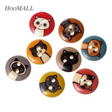 Hoomall 100PCs Natural Wooden Buttons Cartoon Cats Decorative 2 Holes 15mm Random Mixed Scrapbooking Accessories(China)