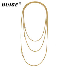 "Hip Hop Stainless steel Rapper's 3mm 20/24/30"" Rope Chain Mens Gold Filled Rope Chain Necklace(China)"