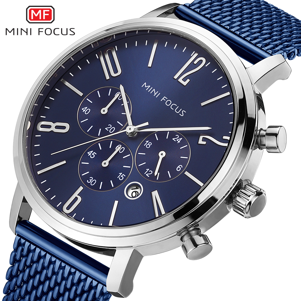 MINI FOCUS 2018 Quartz Watch Mens Watches Blue Display Top Brand Luxury Relogio Masculino Male Clock Stainlesss Steel Mesh Band<br>