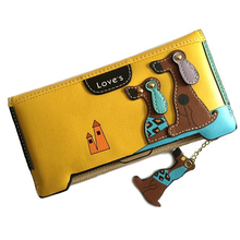 BVLRIGA Women Wallets Female Card Holder Organizer Leather Women Wallets And Purses Female Luxury Designer Clutch Dog Wallet