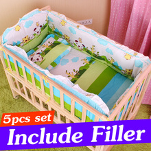 5PCS Infant Baby Crib Bedding Set For Boy Girl Baby Cot Sets Newborn Baby Crib Bumper Baby Bed Bumper With Filler 90x50cm CP01S(China)