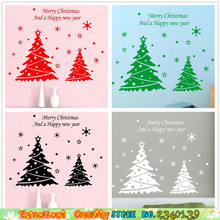 New Merry Christmas Tree Wall Stickers Snowflake Wall Decals Home Xmas Party Window Glass Decoration Mural Art Wall Art Stickers