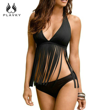 2017 New Sexy Women Swimsuit Plus Large Size Tassel Halter Top Bikini Set Summer Push Up Beach Swimwear Swim Bathing Suits(China)