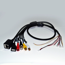 CCTV Network Cable Board Camera Extension Cable RJ45+BNC+DC+USB+Audio input+Audio output FOR IP Camera Module (BG)