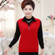 118cm BUST SIZE Big Winter Cardigan Sweater Women 2017 Sleeveless Mother Cashmere Sweaters Lady Standard Clothes Zipper tops