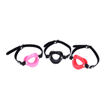 Buy 1PCS New Adult Sex Toys Restraints BDSM Fetish Leather Rubber Lips O Ring Open Mouth Gag Bondage Erotic Toy Women Couple