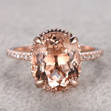 11x9mm 4.5ct Oval Cut Morganite Engagement Ring 14k Rose Gold white topaz side stone Peach Gemstone Bridal Set Ring For Women