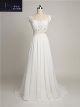 Simple Informal Wedding Dress Scoop Neck Appliques Lace Floor Length Chiffon Beach Wedding Dress(China)