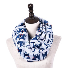 Top Quality Women Vintage Cat Scarf Lady Printed Animal Soft Neckchief Women Voile Thin Brand Ring Lady Chiffon Tube Long Scarf(China)