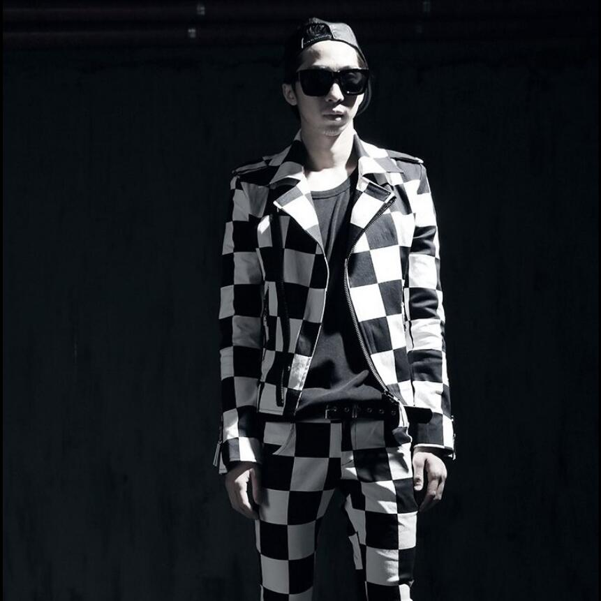 Nightclub Bar Men Jacket Singer Costume Personality Stage Dress Hair Stylist Fashion Clothing Men Black And White Lattice Jacket