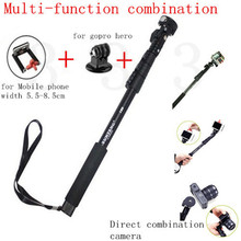 Aluminum 123cm Telescopic Handheld Monopod With Tripod Mount Adapter And Mobile Phone Holder For Gopro Hero 6 5 & Mobile Phone(China)