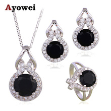 Mysterious Fashion Jewelry Set Black Onyx Silver Stamped Cubic Zirconia Party Earrings Necklace Ring for Women JS622A