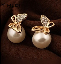 Nice shopping!! New Fashion Flying Butterfly Earrings Rhinestones Pearl Earrings Bowknot Earrings For Women E250(China)