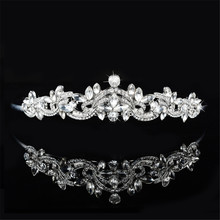 LJ Romantic water drop silver color crystal Tiara Rhinestone Crown wedding accessories Bridal Hair vintage Jewelry unique HF15(China)